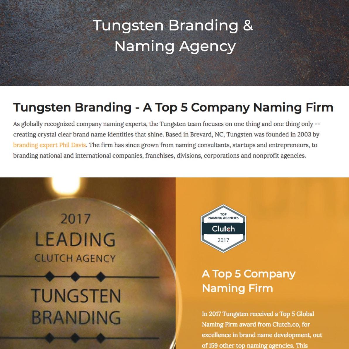 Tungsten-Branding-webpage