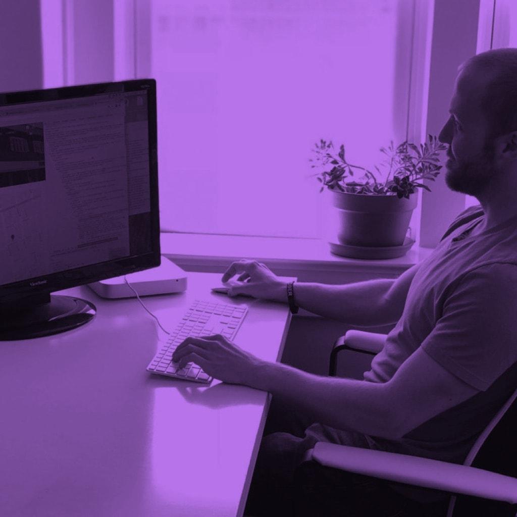sean at computer purple