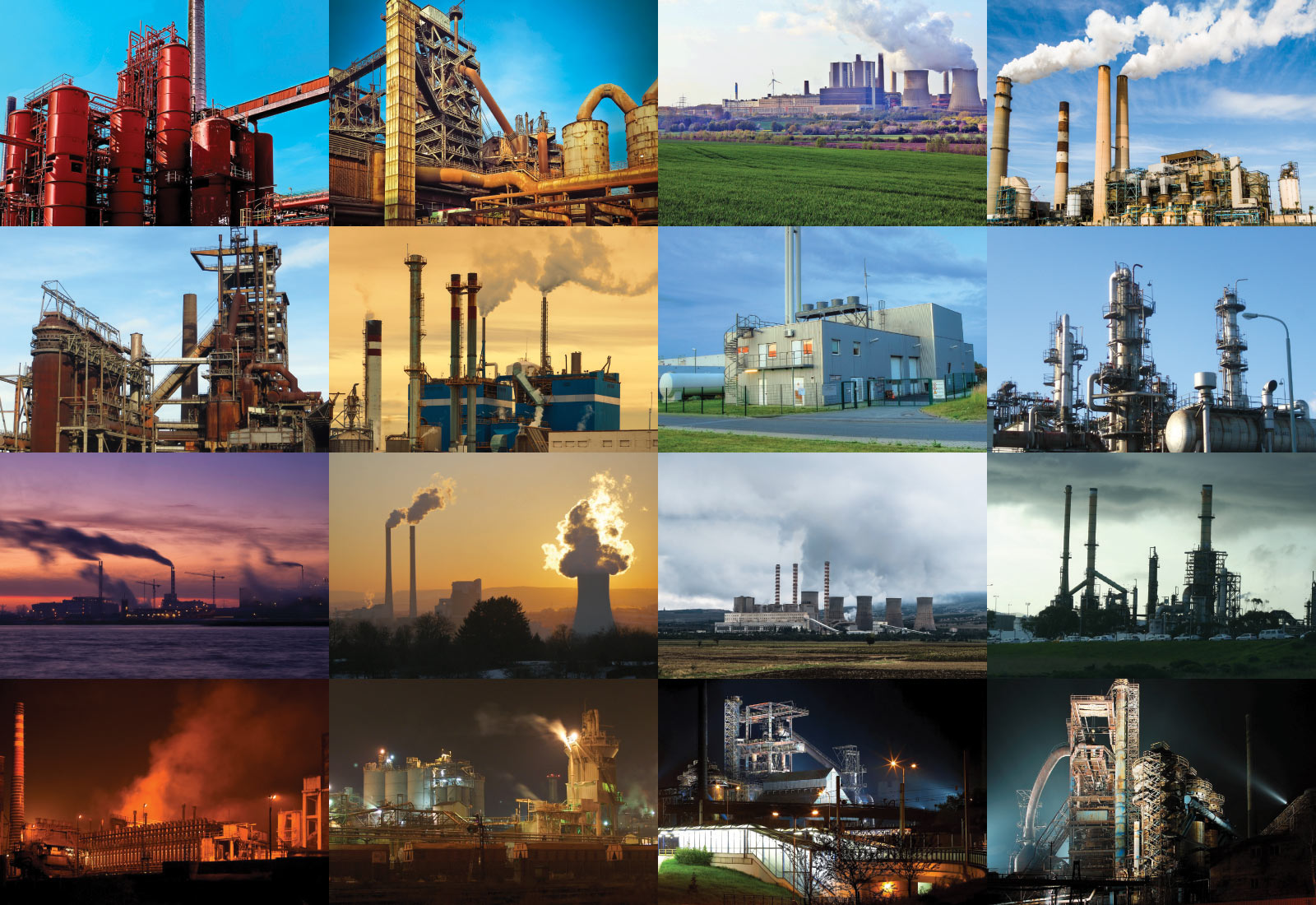 An assortment of factory and power plant images