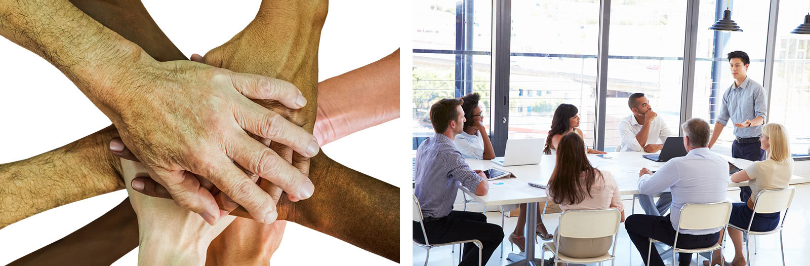 Multicultural hands in a huddle versus a multicultural team sitting around a table.