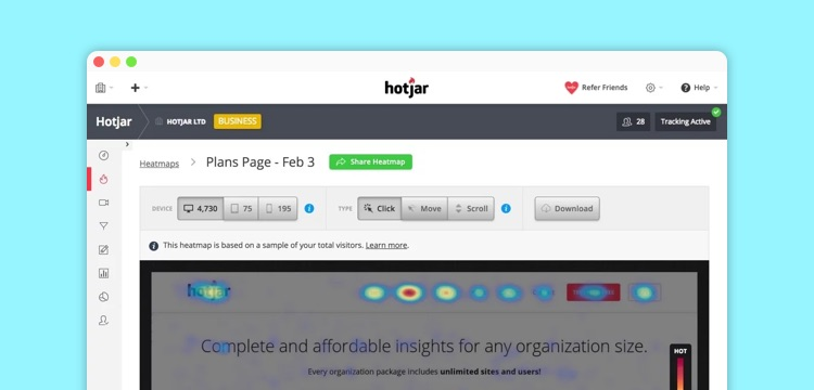 generate heat maps with Hotjar as one of your performance tools and kpis