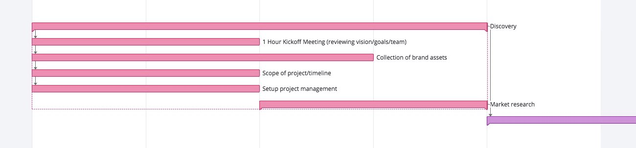 Gantt chart of the discovery section of the web design process